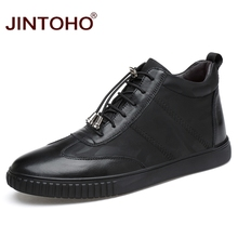 JINTOHO High Quality Men Genuine Leather Shoes Winter Men Boots Black Genuine Leather Male Boots Ankle Short Boots Winter Shoes