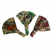 New Arrival Women's Multi-function Head Scarf Bandana Elastic 3 in 1 Headband Wrap Turban Floral Print