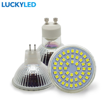 LUCKYLED lampada lamp led spot light 48 LEDS 2835 SMD 3W GU10 MR16 AC110V / 220V Glass body led spotlight bulb warm / cool white(China)