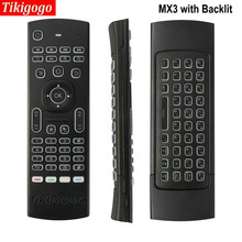Newest MX3 Pro Backlight Wireless Keyboard 2.4G Remote Control IR Learning Mic Voice Fly Air Mouse backlit keyboard for H96 PRO(China)