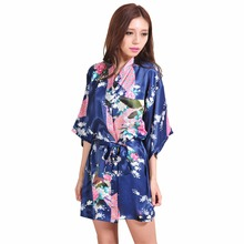 Navy Blue Chinese Female Silk Robe Dress Sexy Mini Kimono Yukata Gown Flower&Peacock Mujer Pijama S M L XL XXL XXXL NR103(China)