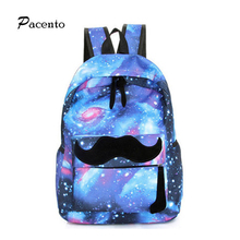 Pacento New Star Mustache Backpack Paisley Galaxy Backpack Travel Leisure Backpack Korean Female Student Schoolbag Fashion Brand