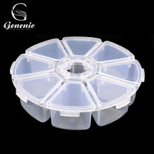 1Pc Transparent Round 8 Cells Nail Art Tips Decoration Jewelry Display Empty Storage Box Case(China)