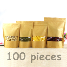 100pcs Kraft Paper Bag Zip Lock Bag with Window Gift Bag Tea Packaging Food Stand Up Pouches Zipper Kraft Bag Free shipping