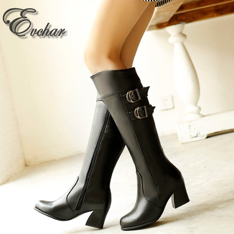 Hot sale pu leather thick mid heels buckle Pointed toe fashion knee high boots  women motorcycle boots   botas mujer SIze 30-52<br><br>Aliexpress