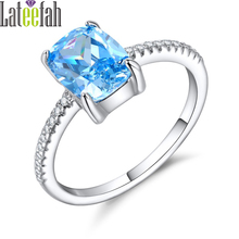 Lateefah Store December Birthstone Rings for Women Created Aquamarine Cocktail Female Ring Thin Band Wedding Engagement Ring