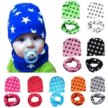 2 Piece/ Set Hat Scarf Gloves Baby Winter Cap Star Beanie Warm Hats for Children Neck Warmer Photography Props