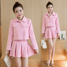 Buy Korean Fashion Women Coat Skirt 2 Piece Set Clothing Solid Pleated Autumn New Skirt Suit Outfit Suits Office Lady Clothes for $29.03 in AliExpress store