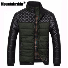 Mountainskin Brand Men's Jackets and Coats 4XL PU Patchwork Designer Jackets Men Outerwear Winter Fashion Male Clothing EDA0116