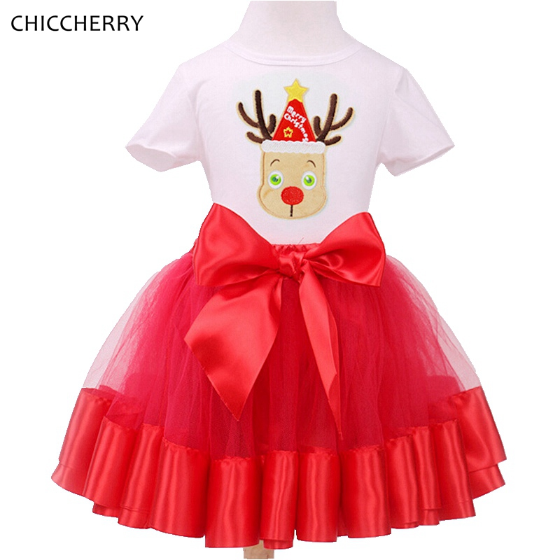 Reindeer Merry Christmas Kids Clothing Children Girl Lace Tutu Skirt  Set Red New Year Costume Vestido Menina Infant-clothing<br><br>Aliexpress