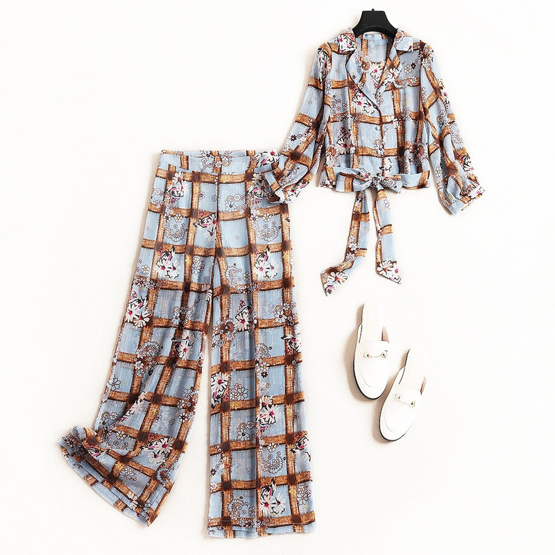 Women fahison floral plaid wide leg pant suit bow tie short shirts top and blouse sexy casual 2 piece set new 2019 summer