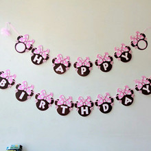 photo booth prop Minnie Mouse Happy birthday Flags Bunting Banner for kids event gift party fun favor Decoration baby shower