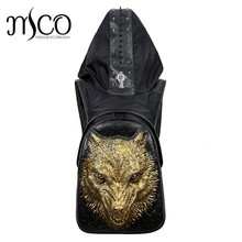 Fashion Personality Fierce wolf Embossing knife leather backpack rivets backpack with Hood cap apparel bag cross bags hiphop man(China)
