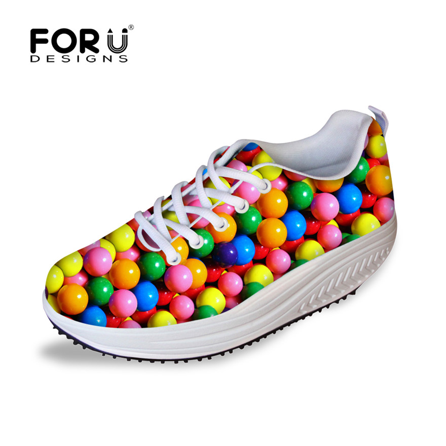 FORUDESIGNS Height Increasing Swing Shoes Women 3D Candy Color Prints Casual Flats Platform Shoes for Ladies Slimming Shoes Girl<br>