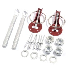 Universal Aluminum Red Clasp Hood Pin Lock Kit for Fiberglass Aluminum Hood(China)
