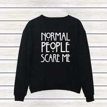 NORMAL PEOPLE SCARE ME Hoody Pullover Lady Black White Sweatshirts Women's Clothing Letter Print Hoodies Tops