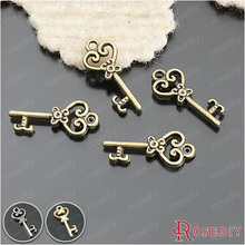 (25950)50PCS 21*9MM Antique Bronze Plated Zinc Alloy Heart Shape Key Charms Pendants Diy Jewelry Findings Accessories Wholesale