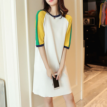 long section of the new spring and summer 2017 color cotton Crewneck sweater dress Korean sleeve loose ice Linen Shirt