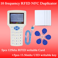 English Rfid NFC Copier Reader Writer duplicator 10 Frequency Programmer with color screen +5pcs T5577 em4305 cards+5Pcs UID key(China)
