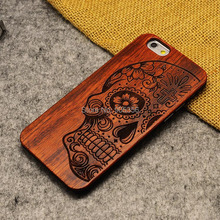 Wood Case for iPhone 6 6s Wooden 6 Plus New Cover Natural Real Bamboo Carving Wood + Plastic Edges Back Cover For iPhone 6s Plus(China)