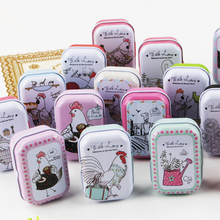 New Arrival Iron Mac Makeup Cosmetic Tin Box Cute Chicken Picture Metal Tea Pill Storage Case Cantianer Household 8Piece/Lot