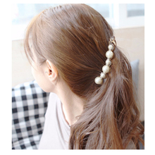 Pretty Long Barrettes Big Simulated Pearl Hair Clips for Women Girls Ponytail Banana Hairpins Hair Accessories Black/Brown HC609(China)
