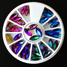 1 Wheel Mixed Rainbow Colorful Flame Crystal Horse Eye DIY Glitter Rhinestones for Nails Art Accessory Manicure Decoration CH384