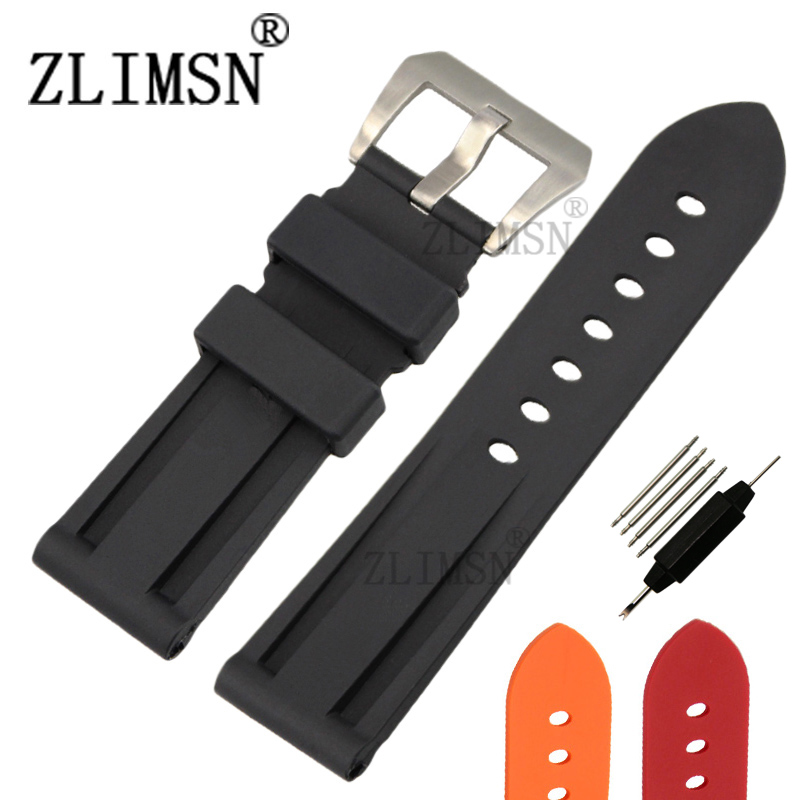 ZLIMSN  24mm Mens Black Diving Silicone Rubber Watchbands Black Red Watch BANDS Strap Buckle Relojes Hombre 2017 For Panerai<br><br>Aliexpress