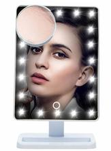 Adjustable Vanity Tabletop Lamp 20 LEDs Lighted LED Touch Screen Mirror Makeup Portable Mirror Luminous 180 Rotating Mirror
