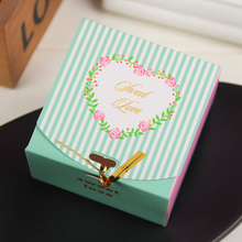 New Arrival Heart 100pcs Sweet Love Small Striped Candy Boxes for Wedding Favours Package Gifts Box for wedding decorations(China)