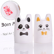 1Pc 3.5cm Silicone Head Nail Stamper Cute Panda Cat Design with BORN PRETTY Scraper Manicure Kit Nail Art Stamping Set