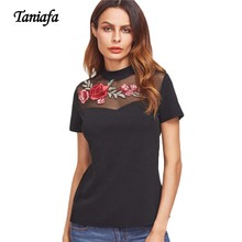 TANIAFA Black TShirt Summer Short Sleeve Cotton T-Shirts Mesh Tops Applique Sexy Shirts Rose Embroidered T Shirt Women Tees