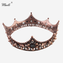 Miallo Luxury Vintage Baroque Black Wedding Crowns Alloy Bridal Tiara Queen King Rhinestone Crown and tiara Hair Accessories(China)
