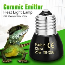 Best Price Black E27 25W 50W 75W 100W Mini Infrared Ceramic Emitter Heat Light Lamp Bulb For Reptile Pet Brooder 110V/220V