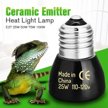 Best Price Black E27 25W 50W 75W 100W Mini Infrared Ceramic Emitter Heat Light Lamp Bulb For Reptile Pet Brooder 110V/220V(China)