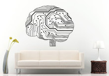 Special Wall Sticker Neurelectric Human Brain Circuit Board Wall Decal Vinyl Sticker Room Decor House Interior Poster NY-409(China)