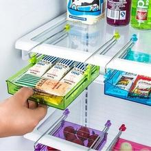 1Pcs High Quality Fridge Storage Rack Layer Partition Refrigerator Storage Holder Pull-out Drawer Organizer Kitchen Shelf Rack