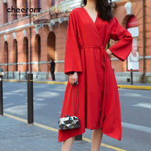 Cheerart 2017 Spring Deep V Neck Red Wrap Dress Vintage Loose Long Sleeve Lace Up Japanese Robe Femme Clothing