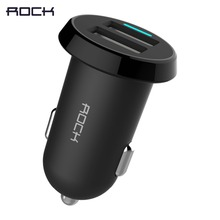 ROCK Ditor Car Charger Dual USB output 2.4A fast charging Mobile Phone Travel Adapter Cigar Lighter DC 12-24V Car Phone Charger