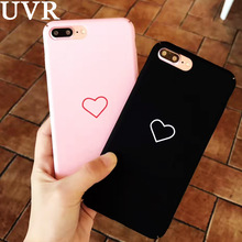UVR Simple Pink Black Peach Heart Case Cover Funda Carcasa for iPhone 6 6S Plus 7 Plus Full Protect Matte Lady Girl Couple Coque