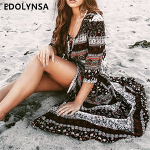 New Arrivals Beach Cover up Rayon Print Swimwear Ladies Saida de Praia Beach Long Dress Tunic Women Kaftan Robe de Plage #Q135