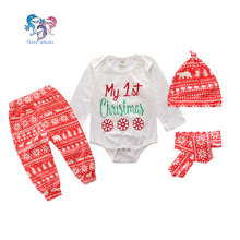 Fashion Baby Designers Clothes 4Pcs Christmas Suit Long Sleeve Romper Newborn Gift Set Clothes For Baby Girl 1st Birthday Outfit