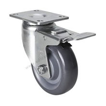 "1PC EDL Medium 4"" 150Kg Polyurethane Wheels Castors Plate Iron Brake Locking Roller Industrial Casters Wheels for trolley cart(China)"