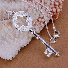 P093 Free Shipping silver plated Necklace, 925 fashion silver jewelry Key Pendant /QOTMJFKY QOTMJFKY
