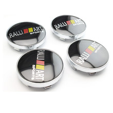 4pcs 60mm Car Styling Accessories Emblem Badge Sticker Wheel Hub Caps Centre Cover for RALLIART MITSUBISHI LANCER PAJERO OU