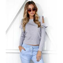 Buy Women Spring Winter Tops Solid Color Ruffles Sleeves Sexy Cold Shoulder Casual Tee Shirt Open Shoulder Basic Tees WS2553Y for $13.07 in AliExpress store