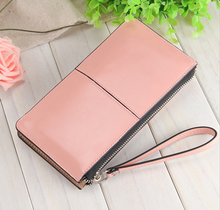 by dhl or ems 50pcs Oil wax leather zipper clutch wallet female candy color burglar robbed purse lady Multi-function phone bag(China)