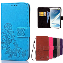 Note2 Luxury Wallet Style PU Leather Case For Cover Samsung Galaxy Note 2 N7100 Flip Phone Cases With Card Holder Stand Coque ;*