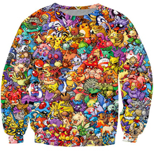2017 New 3d Hoodies Pokemon Crewneck Sweatshirt Women Men 90s video game and anime Sweats jumper Fashion clothes size S-3XL