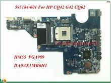 High Quality 595184-001 For HP CQ42 G42 CQ62 Laptop Motherboard DA0AX1MB6H1 HM55 PGA989 DDR3 100% Tested(China)